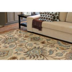 Hand-tufted Amanda Ivory Floral Wool Rug (3'6 x 5'6) - Thumbnail 1