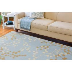 Hand-tufted Blossom Blue Wool Rug (3'6 x 5'6) - Thumbnail 1