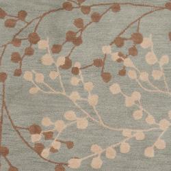 Hand-tufted Blossom Blue Wool Rug (3'6 x 5'6) - Thumbnail 2
