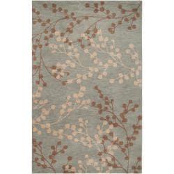Hand-tufted Blossom Blue Wool Rug (9' x 12')
