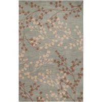 Hand-tufted Blossom Blue Wool Area Rug (9' x 12')