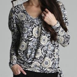 Sulee by Lilac Women's Long-sleeve Side-tie Navy Print Top - Thumbnail 1