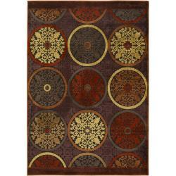 Clay Red Multicolor Viscose/Chenille Area Rug - 4' x 5'7