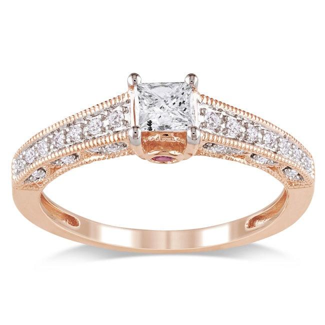 Miadora 10k Pink Gold 1/2ct TDW Diamond and Pink Sapphire Ring (G-H, I1-I2)