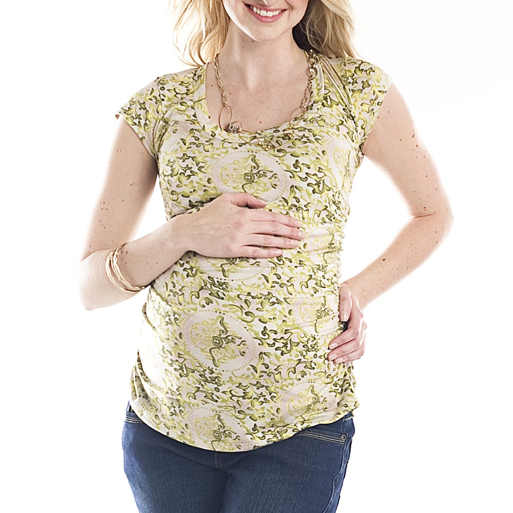 Lilac Women's Maternity 'Sulee' Green Floral Scoop Neck Top