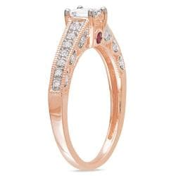 Miadora 10k Pink Gold 1/2ct TDW Diamond and Pink Sapphire Ring (G-H, I1-I2) - Thumbnail 1
