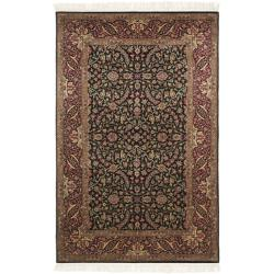 Chinese Hand-knotted Royal Kerman Black/ Red Wool Rug (4' x 6')