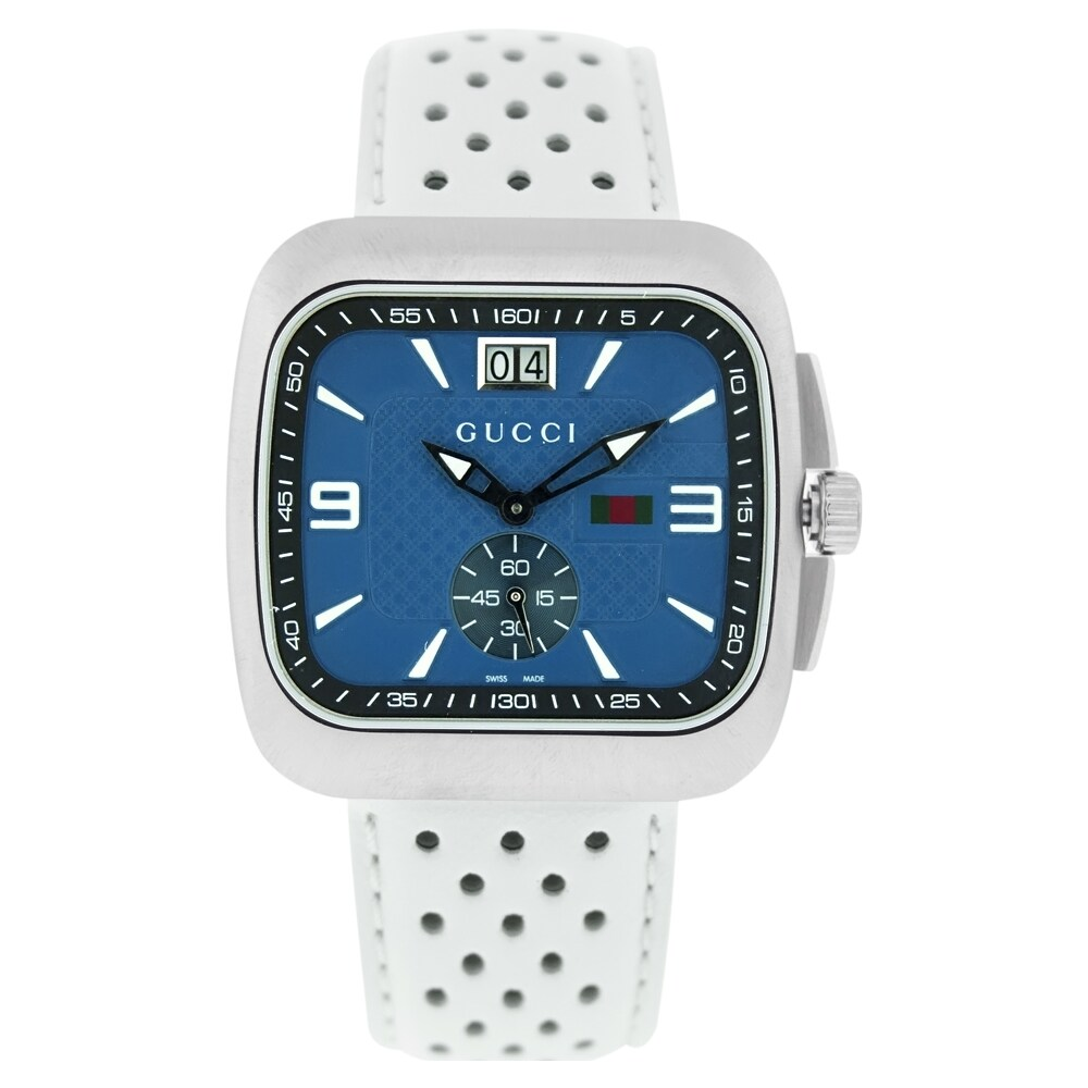 abfe4cfa1d5 Shop Gucci Men s YA131304  Coupe  Blue Dial White Leather Watch - Free  Shipping Today - Overstock - 6459273