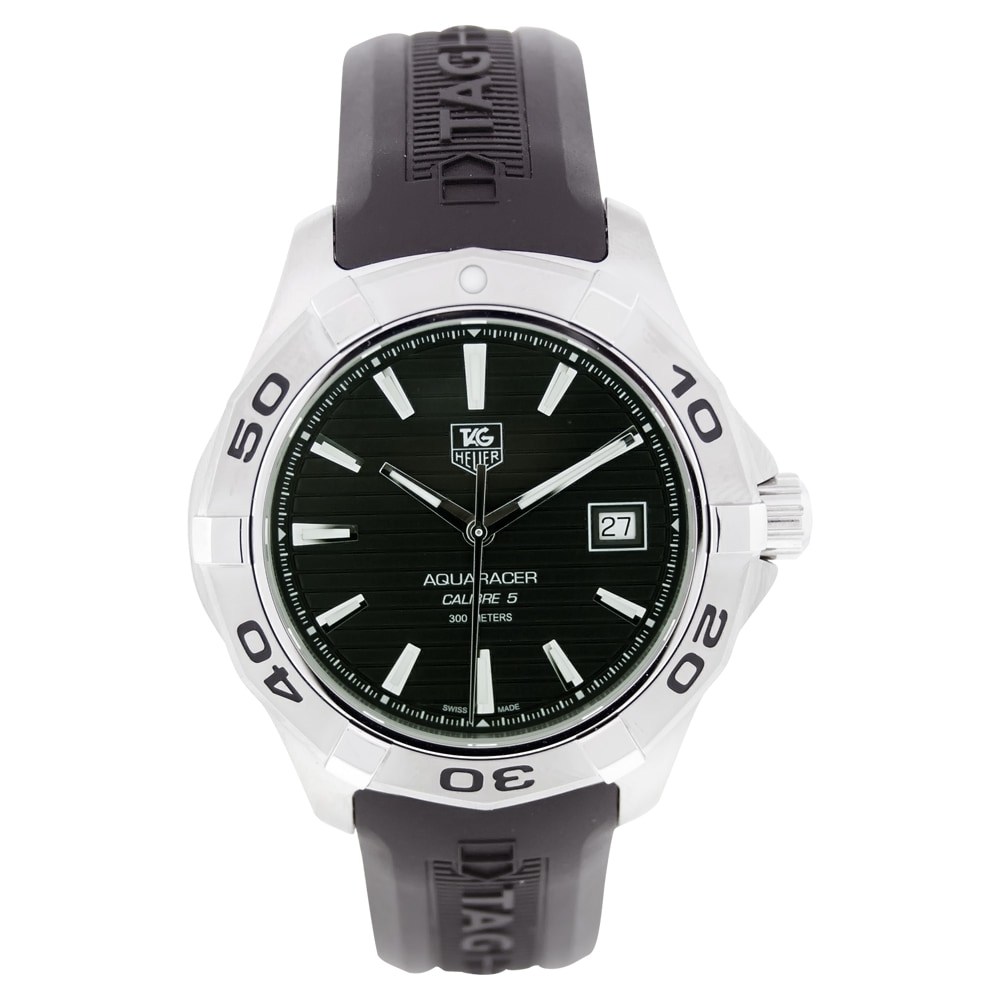 purchase cheap c33e0 9db2b Tag Heuer Men's WAP2010.FT6027 'Aquaracer' Automatic Black Rubber Watch