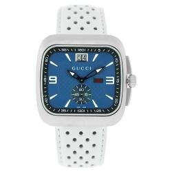 Gucci Men's YA131304 'Coupe' Blue Dial White Leather Watch