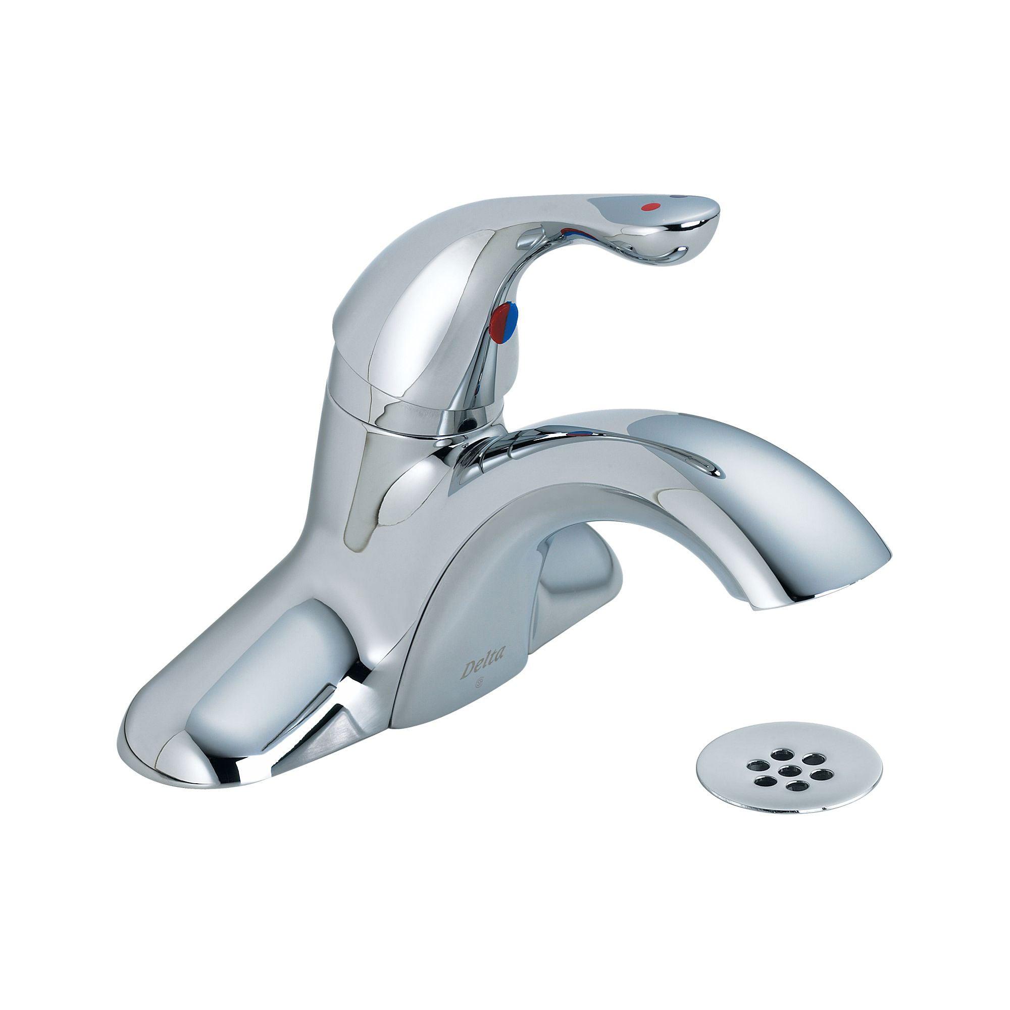 Delta Single Handle 4-inch Centerset Chrome Lavatory Faucet with Grid Drain