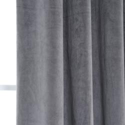 Exclusive Fabrics Signature Grommet Charcoal Grey Velvet 120 Inch Curtain Panel Thumbnail 2