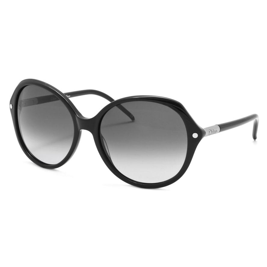 Chloe Women's Black/ Silvertone Fashion Sunglasses