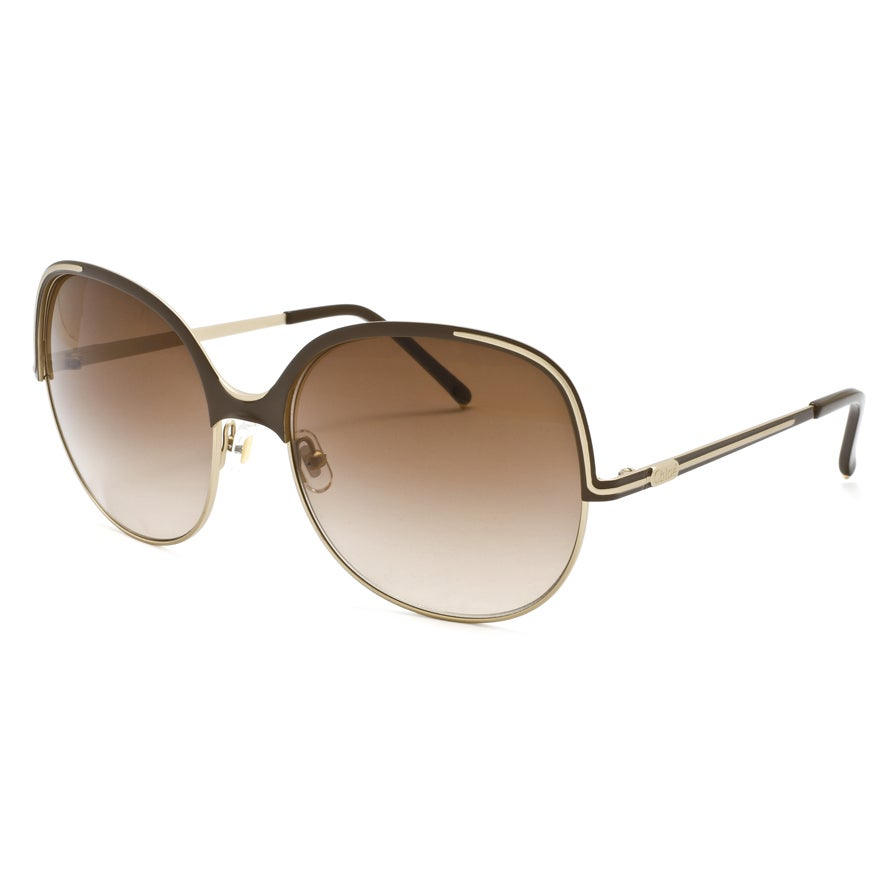 Chloe Women's Matte Rose Gold/ Chocolate Fashion Sunglasses