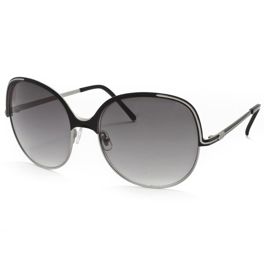 Chloe Women's Matte Silver/ Black Fashion Sunglasses