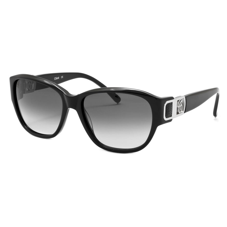 Chloe Women's Black/ Black Leather Accents Fashion Sunglasses