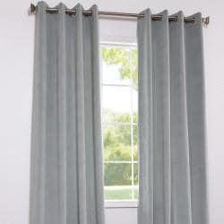 Exclusive Fabrics Signature Grommet Grey Blue Velvet 108-Inch Curtain Panel - Thumbnail 1