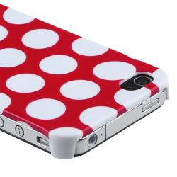 Red with White Dot Rear Snap-on Case for Apple iPhone 4/ 4S