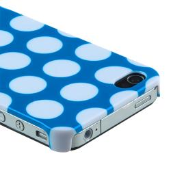 Light Blue with White Dot Rear Snap-on Case for Apple iPhone 4/ 4S