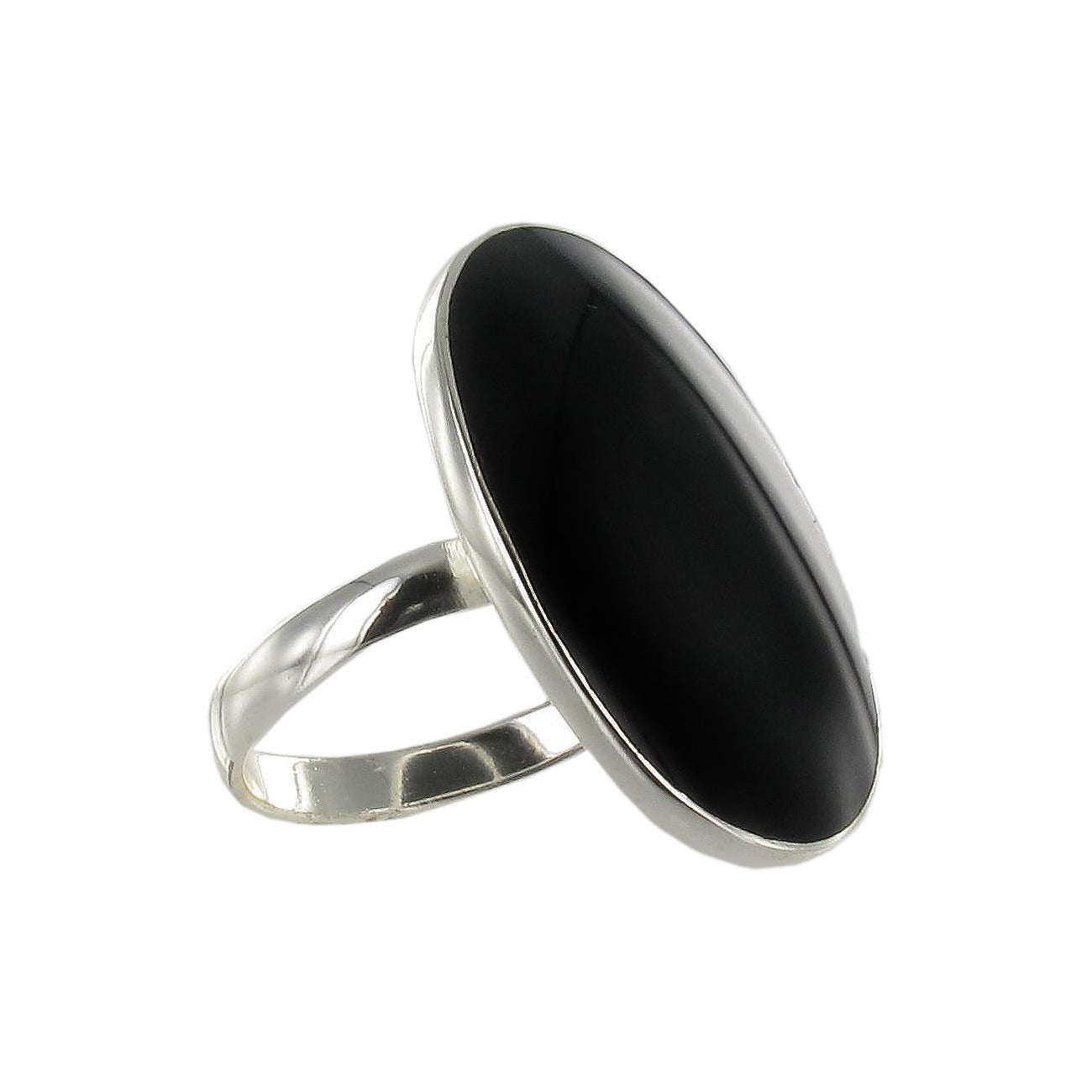 Sunstone Sterling Silver Black Agate Oval Ring