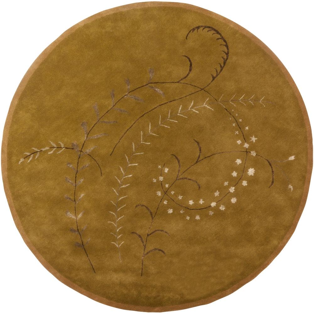 Hand-tufted Mandara Gold Floral Wool Rug (9' Round)