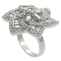 Journee Silvertone Cubic Zirconia Flower Ring - Thumbnail 1