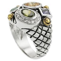 Journee Silvertone Multi-colored Cubic Zirconia Ring