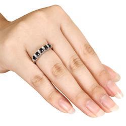 Miadora Sterling Silver 3/4ct TDW Black Diamond Five-Stone Ring - Thumbnail 2