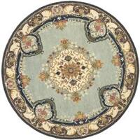 Safavieh Handmade Bliss Light Blue/ Ivory Hand-spun Wool Rug (6' Round)
