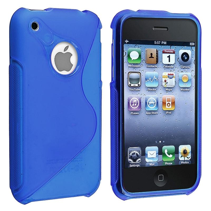 Dark Blue S Shape TPU Rubber Skin Case for Apple iPhone 3G/ 3GS