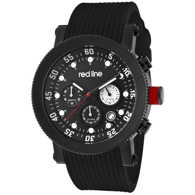 Red Line Men's 'Compressor' Black Silicon Watch - Thumbnail 0