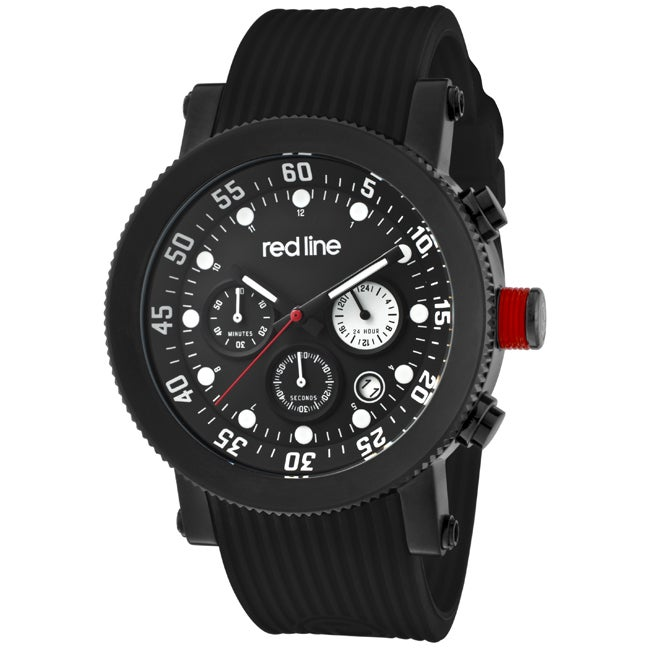 Red Line Men's 'Compressor' Black Silicon Watch