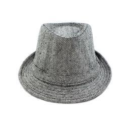 Faddism Black/ White Patterned Fedora Hat