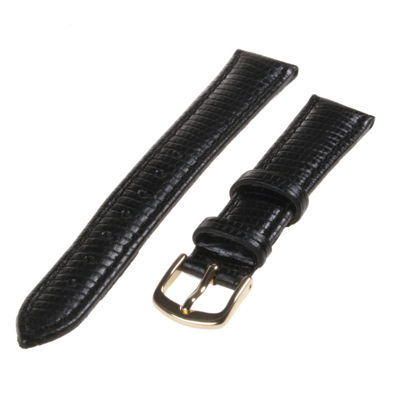Republic Women's Black Lizard Grain Leather Watch Strap