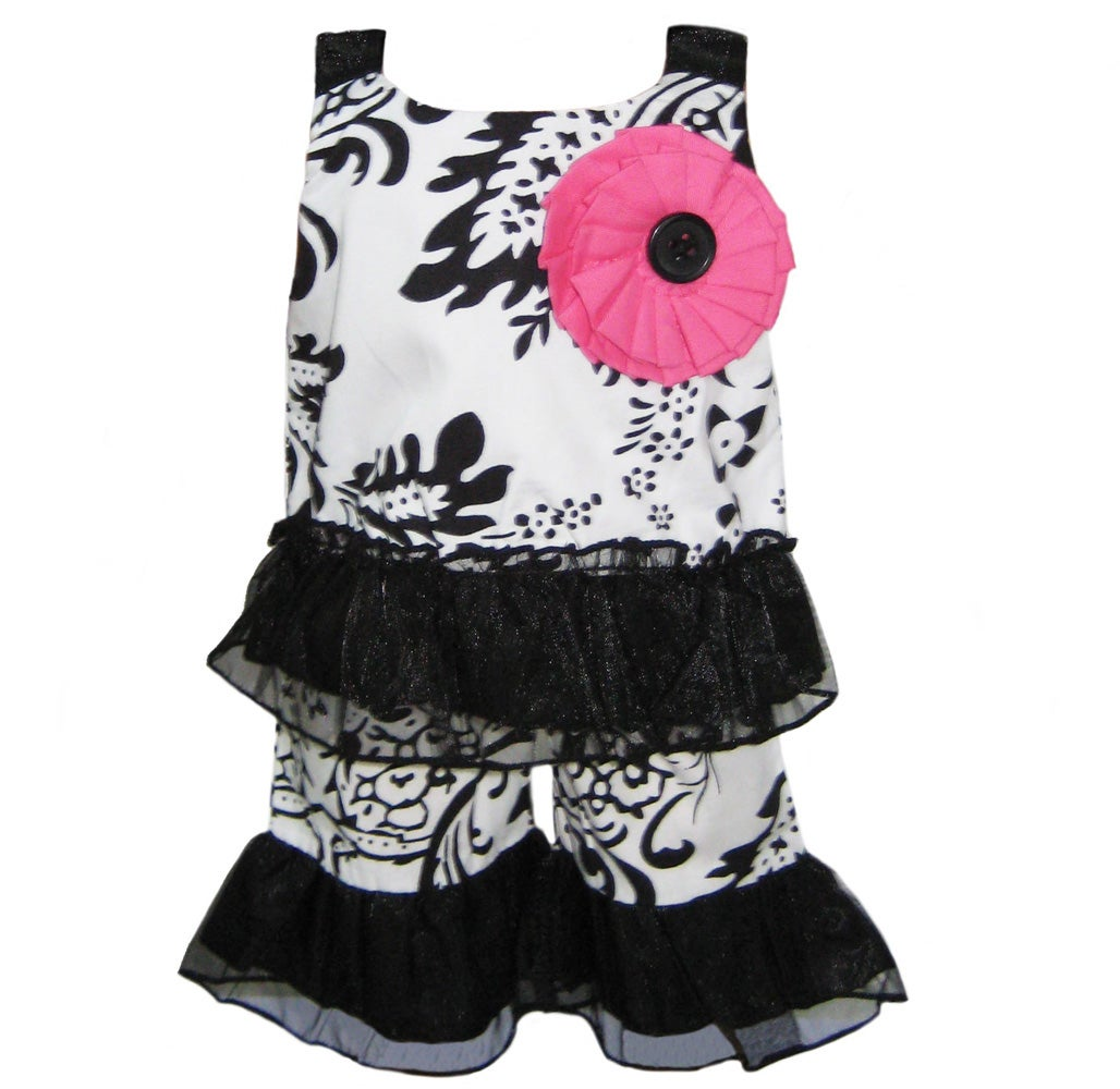 AnnLoren 2-piece Damask/ Tulle American Girl Doll Outfit