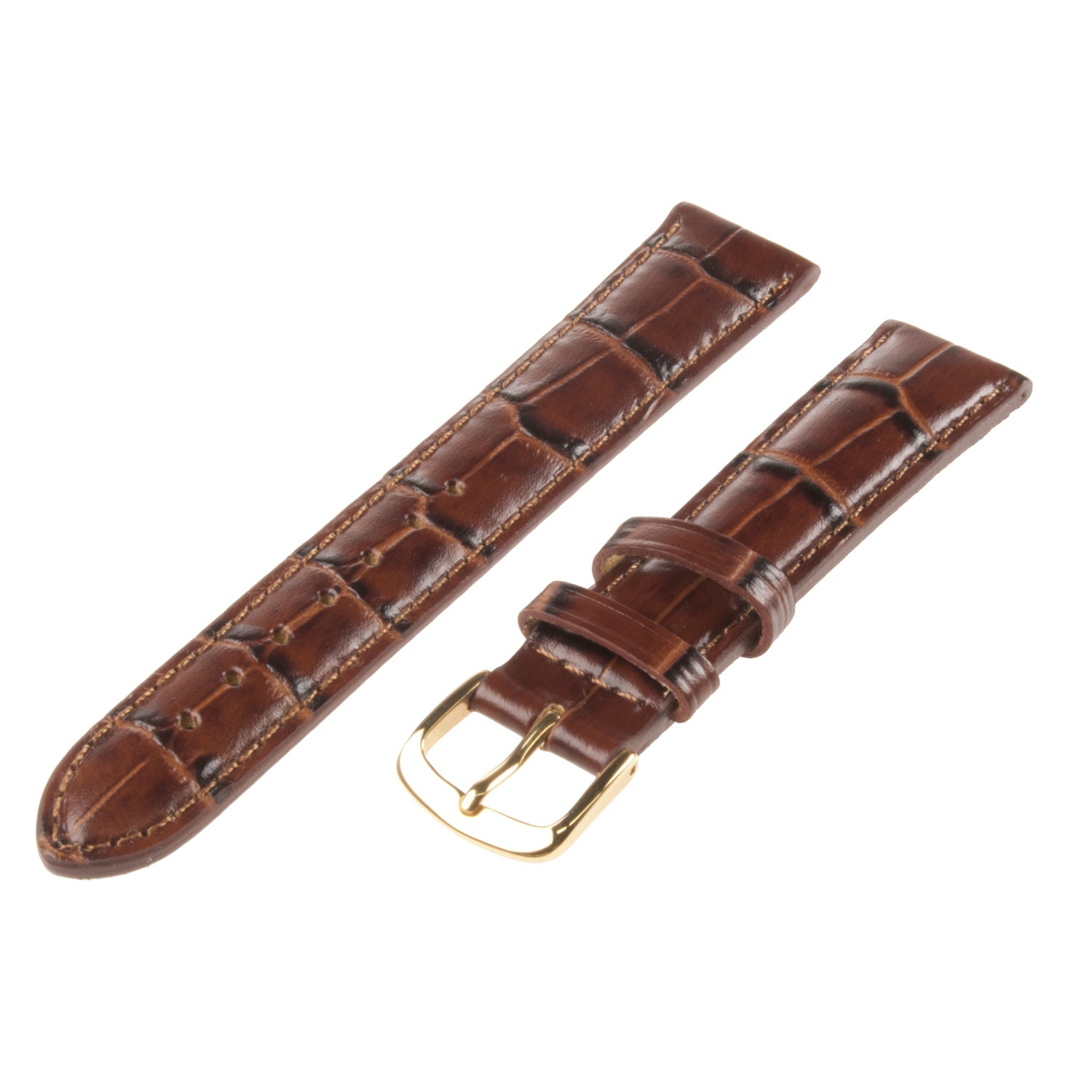 Republic Men's Italian Brown Calfskin Embossed Hypo-allergenic Watch Strap