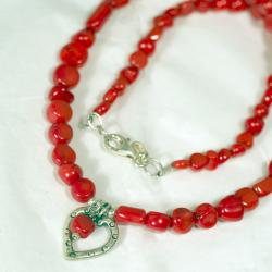 Peyote Bird Designs Sterling Silver Red Bamboo Heart Necklace - Thumbnail 1
