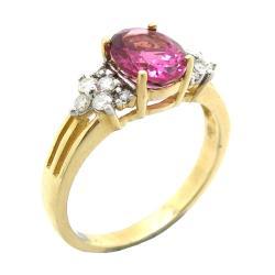 D'sire 10k Gold Pink Tourmaline and 2/9ct TDW Diamond Ring (H-I, I1-I2)