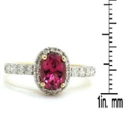 D'sire 10k Gold Pink Tourmaline and 1/3ct TDW Diamond Ring (H-I, I1-I2)