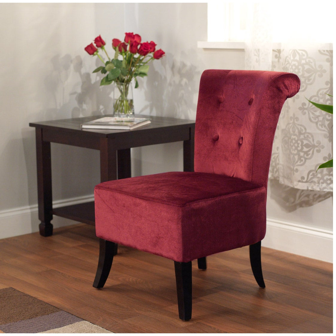 Simple Living Anna Burgandy Red Velvet Accent Chair Free