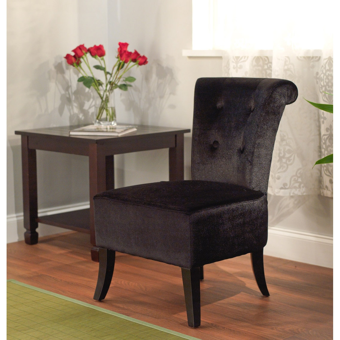 Simple Living Anna Black Velvet Accent Chair