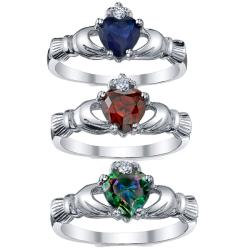 Oliveti Sterling Silver Cubic Zirconia Heart Claddagh Ring - Thumbnail 1