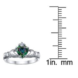 Oliveti Sterling Silver Cubic Zirconia Heart Claddagh Ring - Thumbnail 2