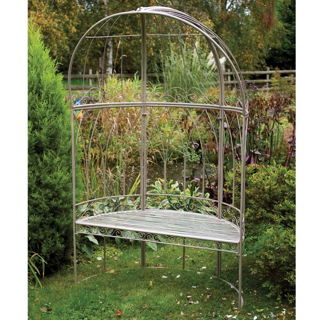 Laura Ashley Oyster Metal Canopied Garden Bench - Shop Laura Ashley Oyster Metal Canopied Garden Bench - Free Shipping