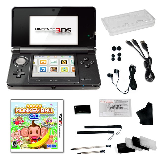 Nintendo 3DS Black Bundle with Super Monkey Ball and 20 Accessories