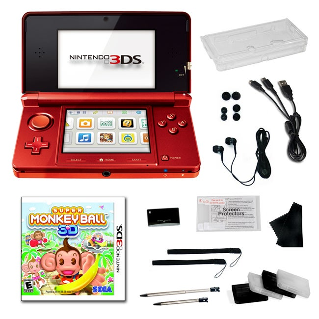 Nintendo 3DS Flame Red Bundle with Super Monkey Ball and 20 Accessories