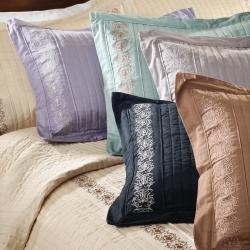 Solid Sateen Embroidered 3-piece Queen-size Coverlet Set - Thumbnail 1