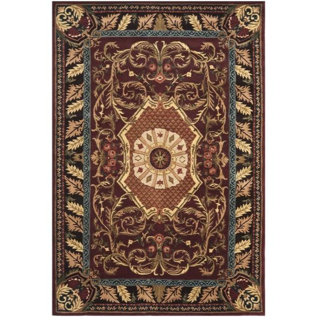 "Safavieh Handmade Aubusson Elancourt Red/ Burgundy Wool Rug - 7'6"" x 9'6"""