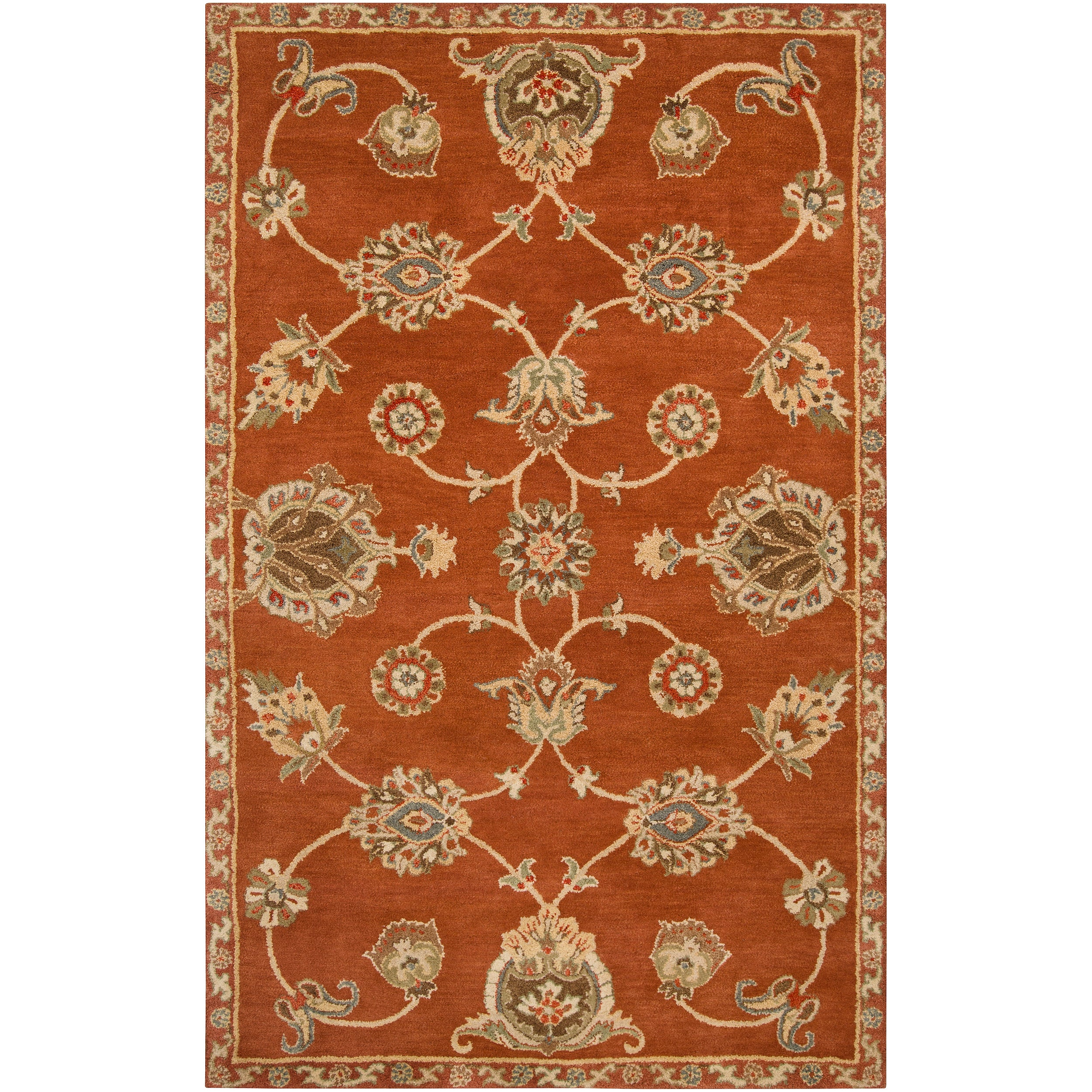 Hand-tufted Rust Langley Wool Rug (5' x 8')