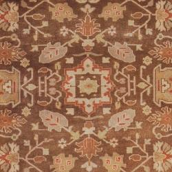 Hand-knotted Brown Turban New Zealand Wool Rug (5'6 x 8'6)